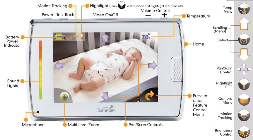 Baby Touch 2 Digital Color Video Monitor features