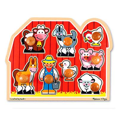 Melissa Doug Large Farm Jumbo Knob Puzzle