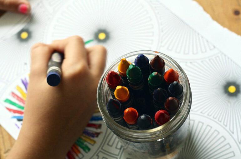 jar with color crayons